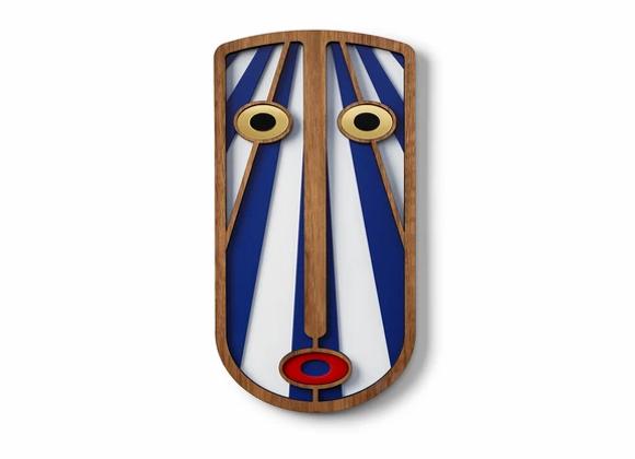 Masque africain moderne bleu