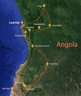 Tropical Birding Angola Tour Map