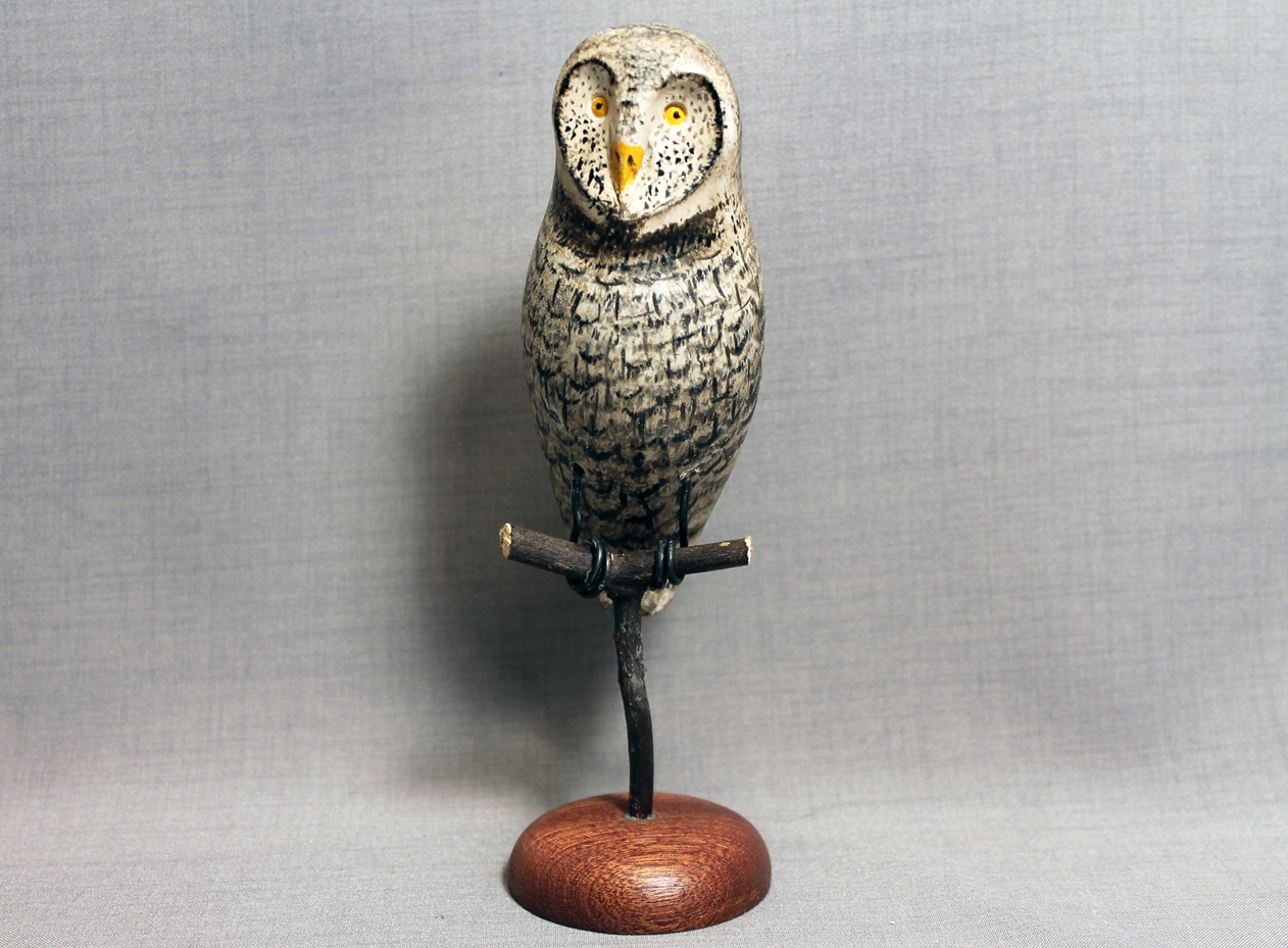 Owl (Great Gray) Mini on Perch