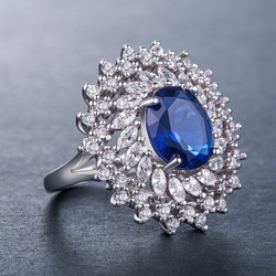 Luxury Blue Cushion 925 Sterling Silver Ring