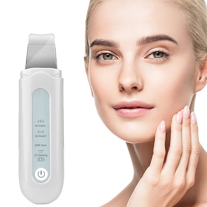 Ultrasonic Ion Skin Scrubber EMS Face Massager Facial Cleansing