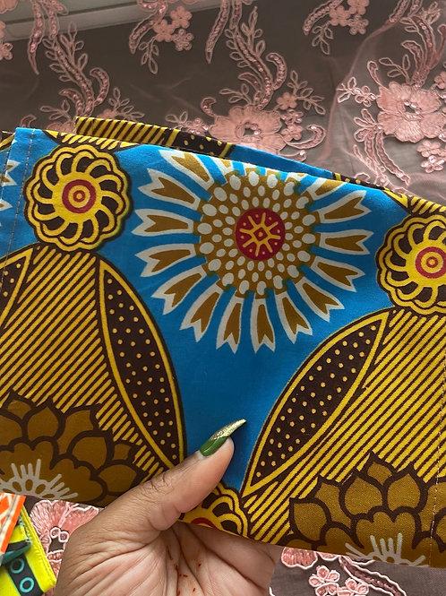 Blue Gold Flower Headwrap