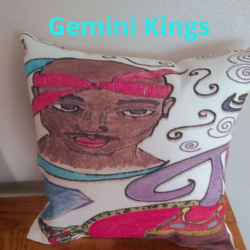 Two Gemini Kings Pillow 14x14