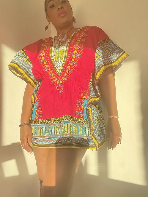 Dashiki Mini Dress Magenta (2X)
