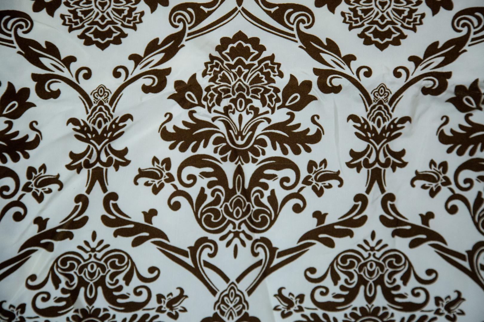 Brown & White Damask