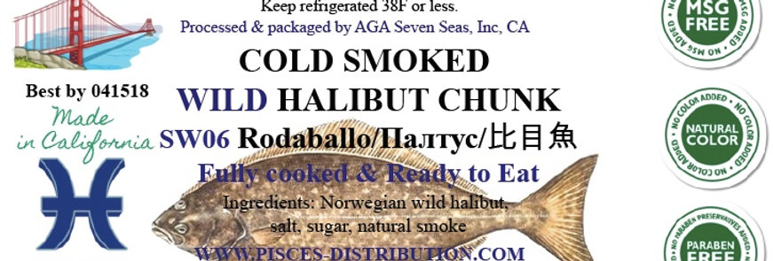 Halibut WILD cold smoked chunks