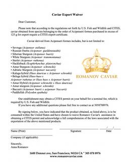 Caviar Export Waiver Romanov Caviar.png