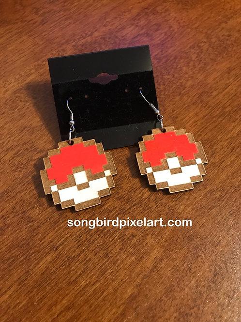 Pokeball Handpainted wood earrings