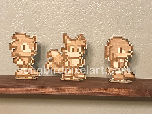 Sonic, Tails, and Knuckles Wood Standees