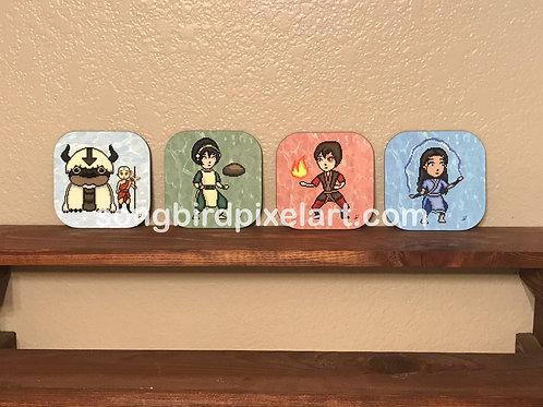 Avatar The Last Airbender Coasters- Aang, Appa, Katara, Toph, Zuko