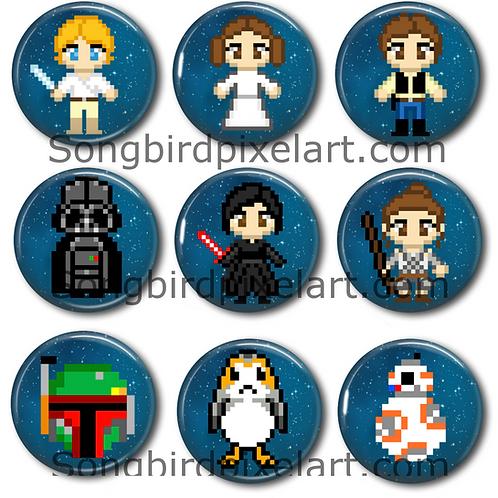 Star Wars- Luke, Leia, Han, Darth Vader, Kylo Ren, Rey, Boba Fett, Porg, BB8, R2