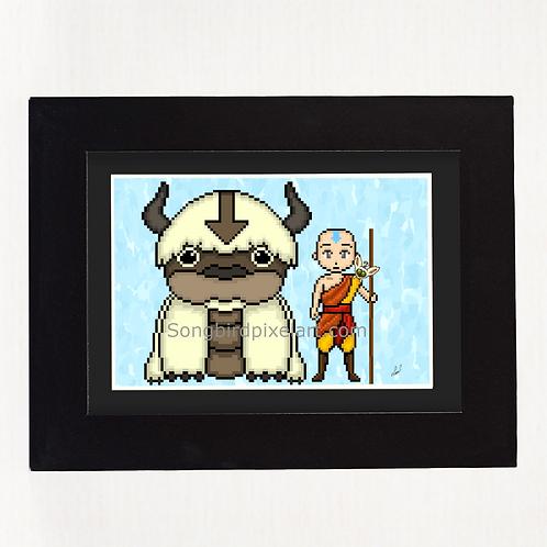 Avatar The Last Airbender- Aang, Appa, and Momo Prin