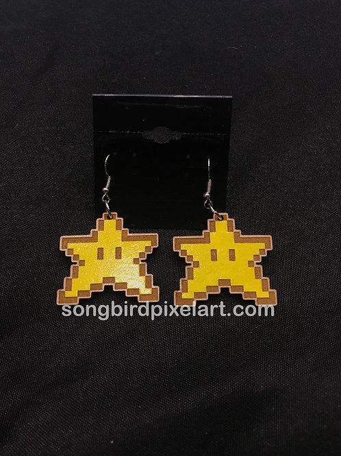 Pixel Star Handpainted wood earrings