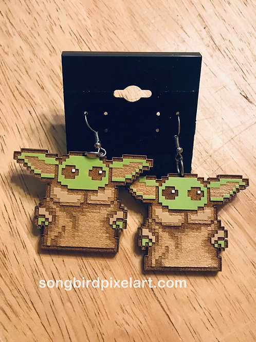 Baby Yoda Wood Earrings