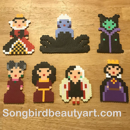 Disney Villains-Queen of Hearts, Ursula, Maleficent, Lady Tremaine, Mother Gothe