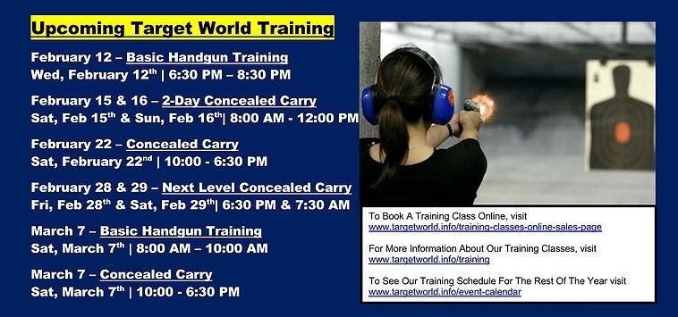 Upcoming Target World Training 2-3-2020