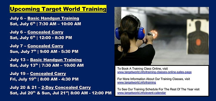 Upcoming Target World Training 6-28-2019