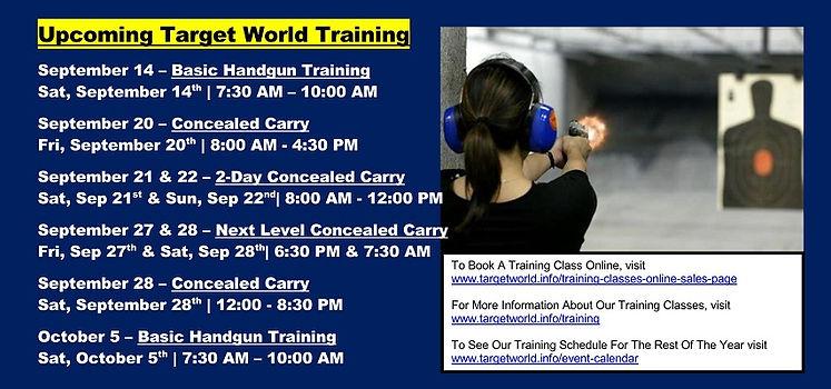 Upcoming Target World Training 9-8-2019