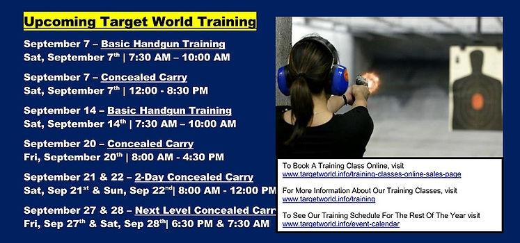 Upcoming Target World Training 9-1-2019