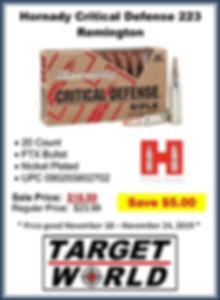 Hornday Critical Defense 223 Remington (