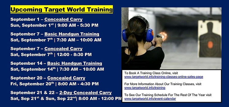 Upcoming Target World Training 8-25-2019