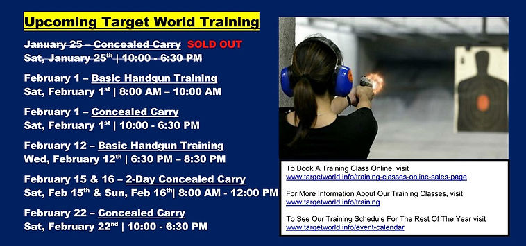 Upcoming Target World Training 1-22-2020