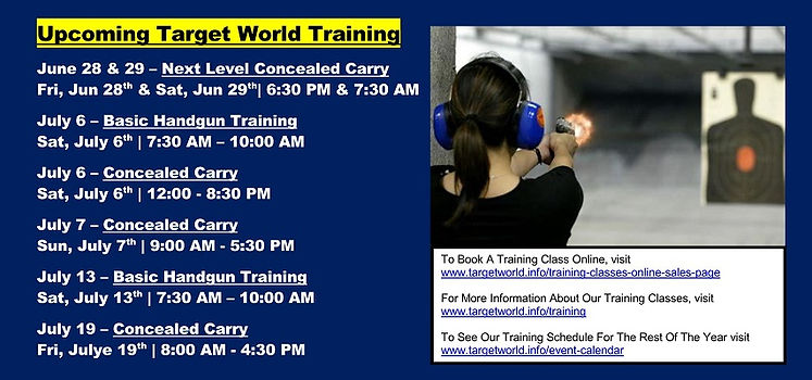 Upcoming Target World Training 6-22-2019