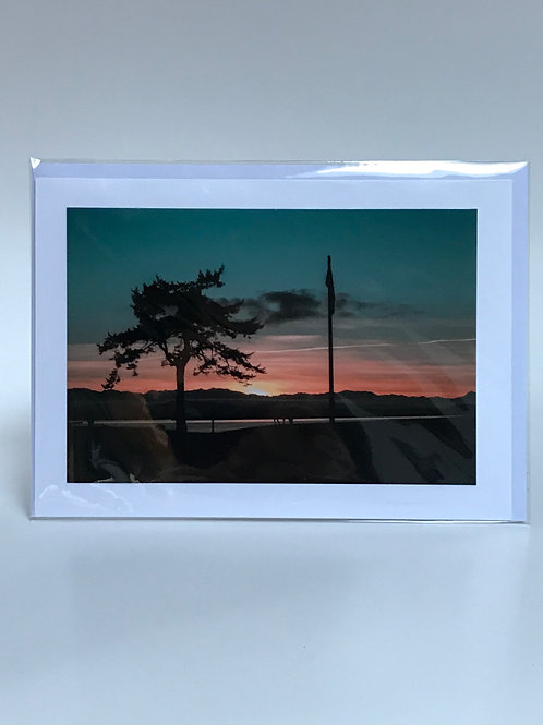 Deer and Flag Sunset - Greeting Card
