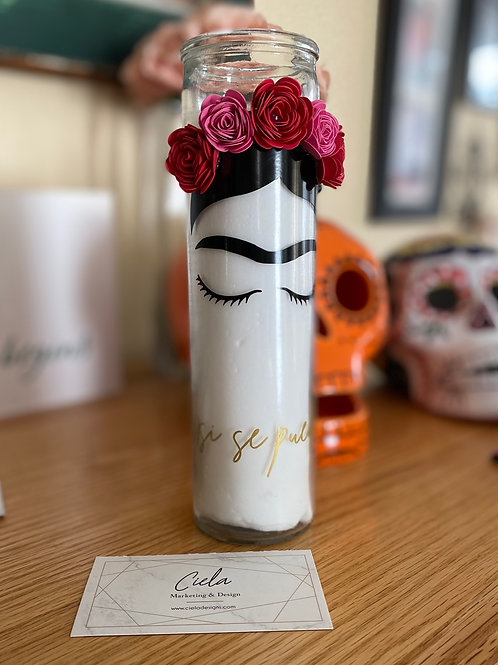Frida Kahlo Candle / Si Se Puede Candle