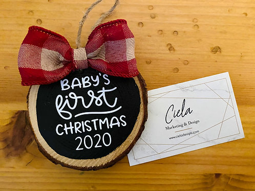 Baby's First Christmas Ornament, Wood Slice Ornament