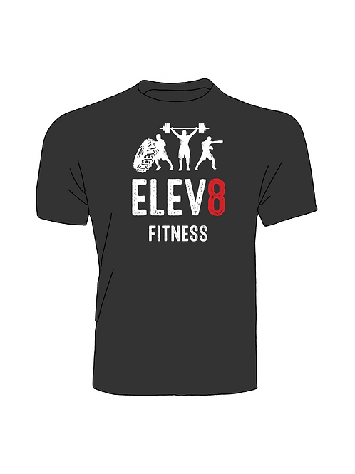 Elev8 Fitness T-Shirt Black Large Logo