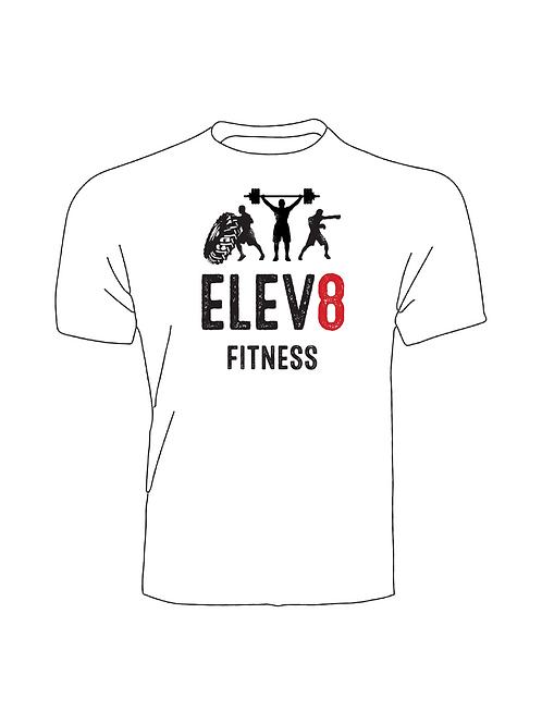 Elev8 Fitness T-Shirt White Large Logo