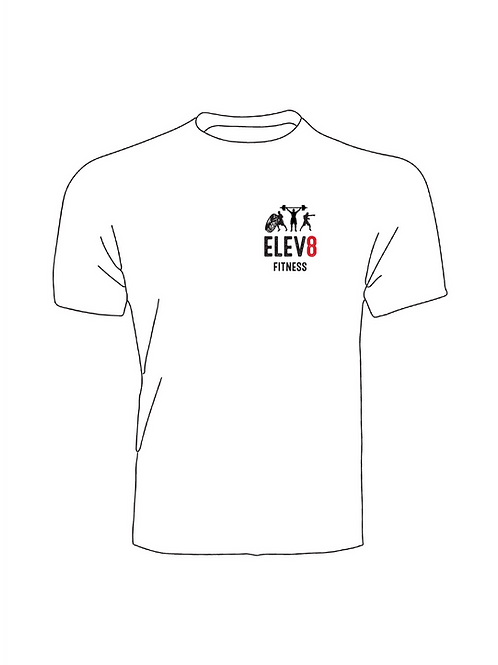 Elev8 Fitness T-Shirt White Small Logo