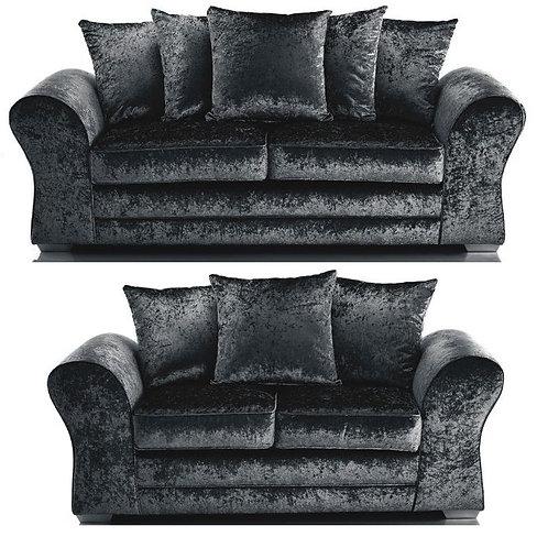 Jupiter 3+2 Sofa Black Crushed Velvet