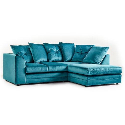 Rockford Teal Plush Velvet Right Hand Corner Sofa