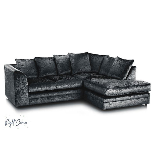 Michigan Black Crushed Velvet Right Hand Corner Sofa