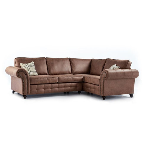 Oakland Brown Faux Leather Right Hand Corner Sofa