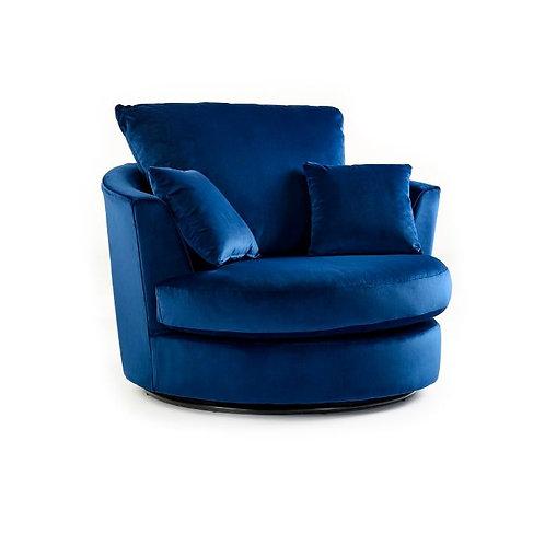 Rockford Indigo Plush Velvet Swivel chair