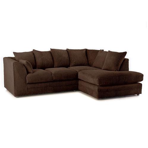 Chicago Brown Right hand Jumbo Cord Corner Sofa