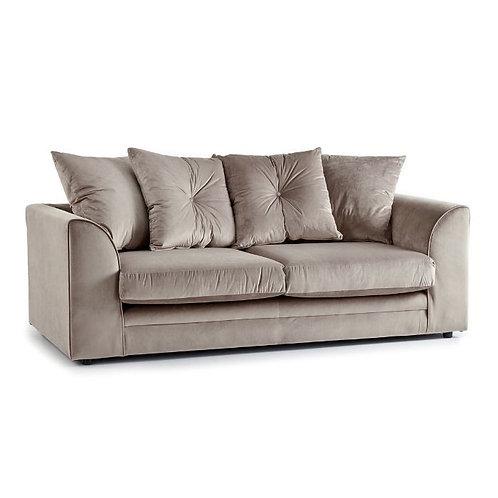 Rockford Mink Plush Velvet 3 Seater Sofa