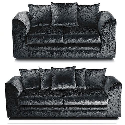 Michigan 3+2 Black Crushed Velvet Sofa
