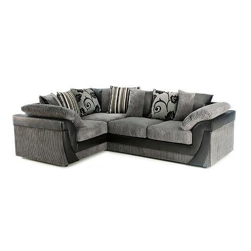 Lush Left Hand Grey Jumbo Cord Corner Sofa