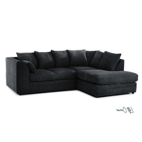 Chicago Black Right hand Jumbo Cord Corner Sofa