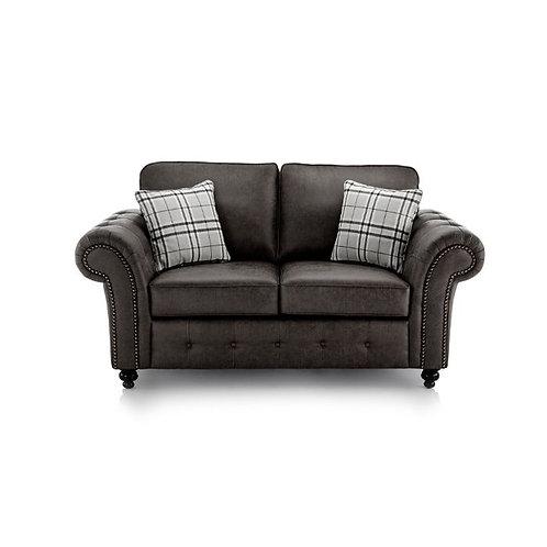 Oakland 2 Seater Black Faux Leather Sofa
