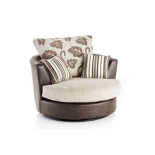 Lush Mink Jumbo Cord Swivel Chair