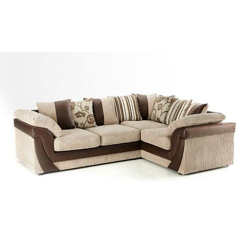 Lush Right Hand Mink Jumbo Cord Corner Sofa
