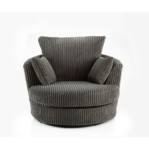 Chicago Grey Jumbo Cord Swivel Chair
