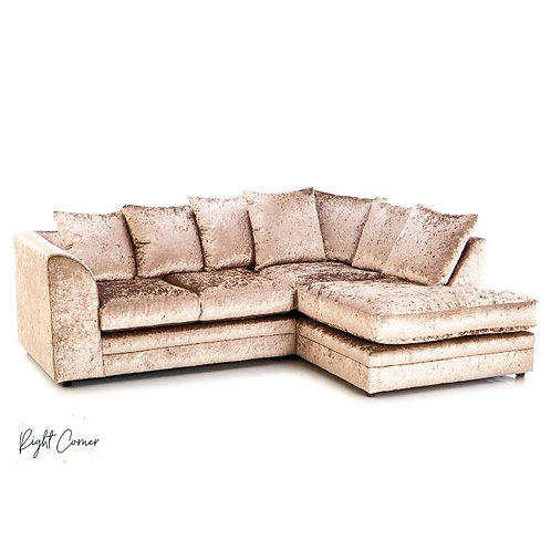 Michigan Mink Crushed Velvet Right Hand Corner Sofa