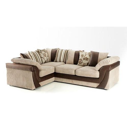 Lush Left Hand Mink Jumbo Cord Corner Sofa