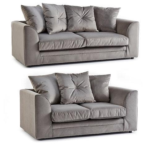 Rockford 3+2 Grey Plush Velvet Sofa